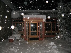 entrance at snowfall