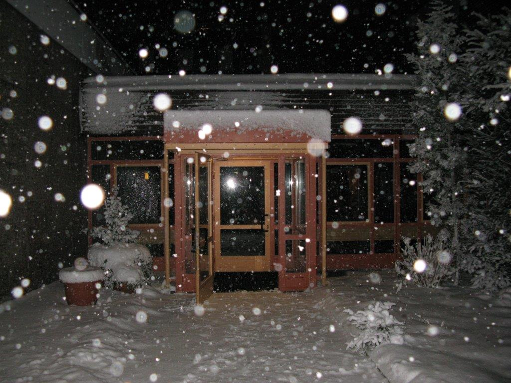 entrance at snowfall