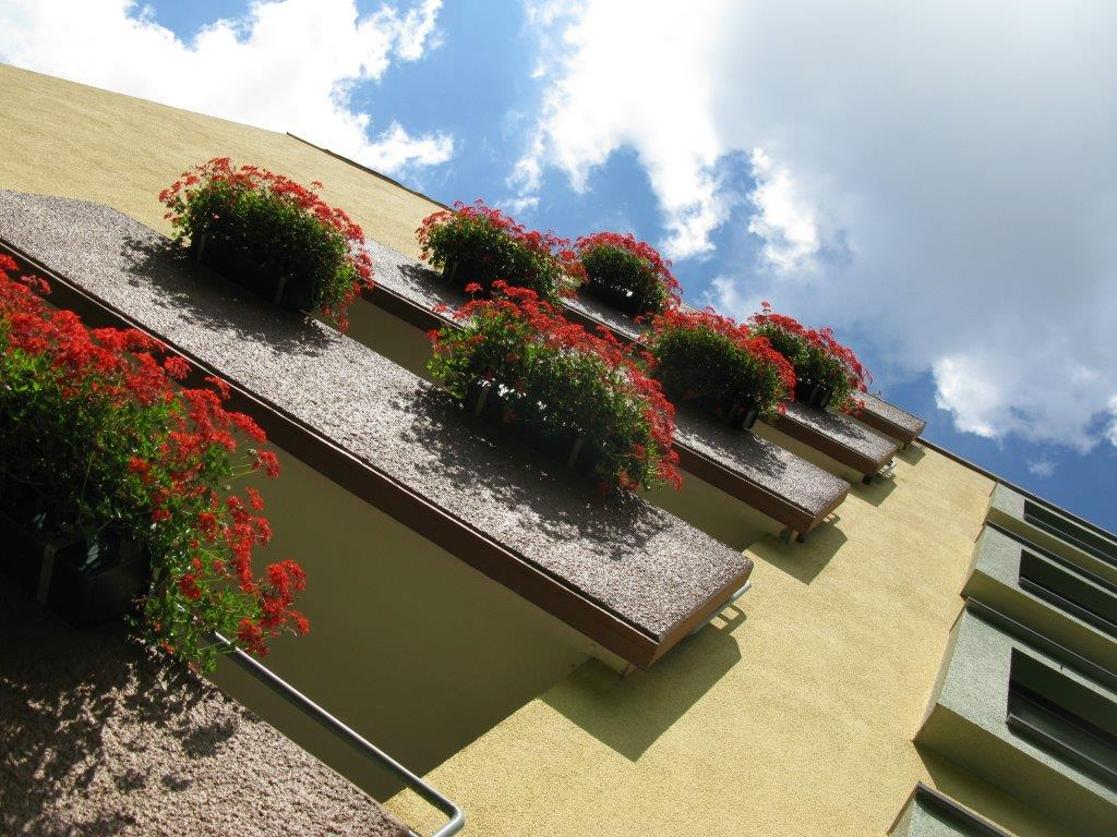balconies with geraniums